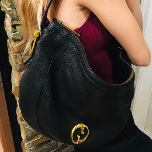 Authentic GUCCI 1973 Leather Shoulder Bag